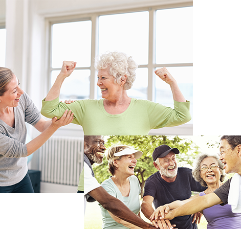 happy active adults going through physical therapy